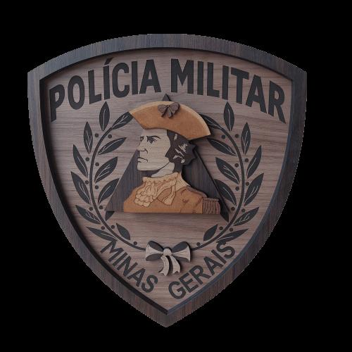 Escudo de madeira da Polícia Militar de Minas Gerais - 40cm