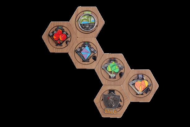 Porta Medalhas Sextavado - kit com 6