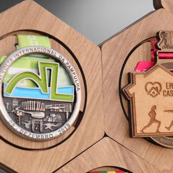 Porta Medalhas Sextavado - kit com 9