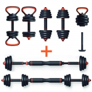 Kit Musculação Completo Barra Anilha Halter Dumbbell Kettlebell - 25kg