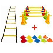 Kit Treino Funcional Escada Agilidade + Cones + Barreira + Chapéu Chinês