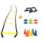Kit Treino Funcional Escada Agilidade + Cones + Chapéu Chinês + Apoio para Flexão