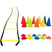 Kit Treino Funcional Escada Agilidade + Cones + Chapéu Chinês