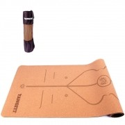 Tapete Yoga Mat Pilates Em Cortiça Natural 5mm Com Bolsa