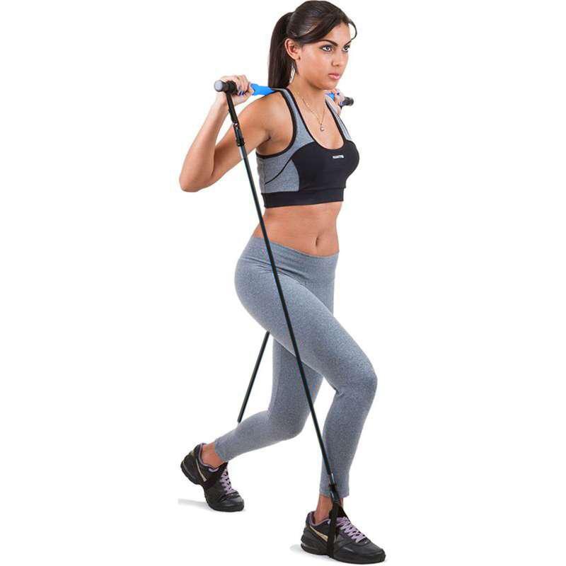 Barra Exercícios Multifuncional e Pilates com Elástico Extensor