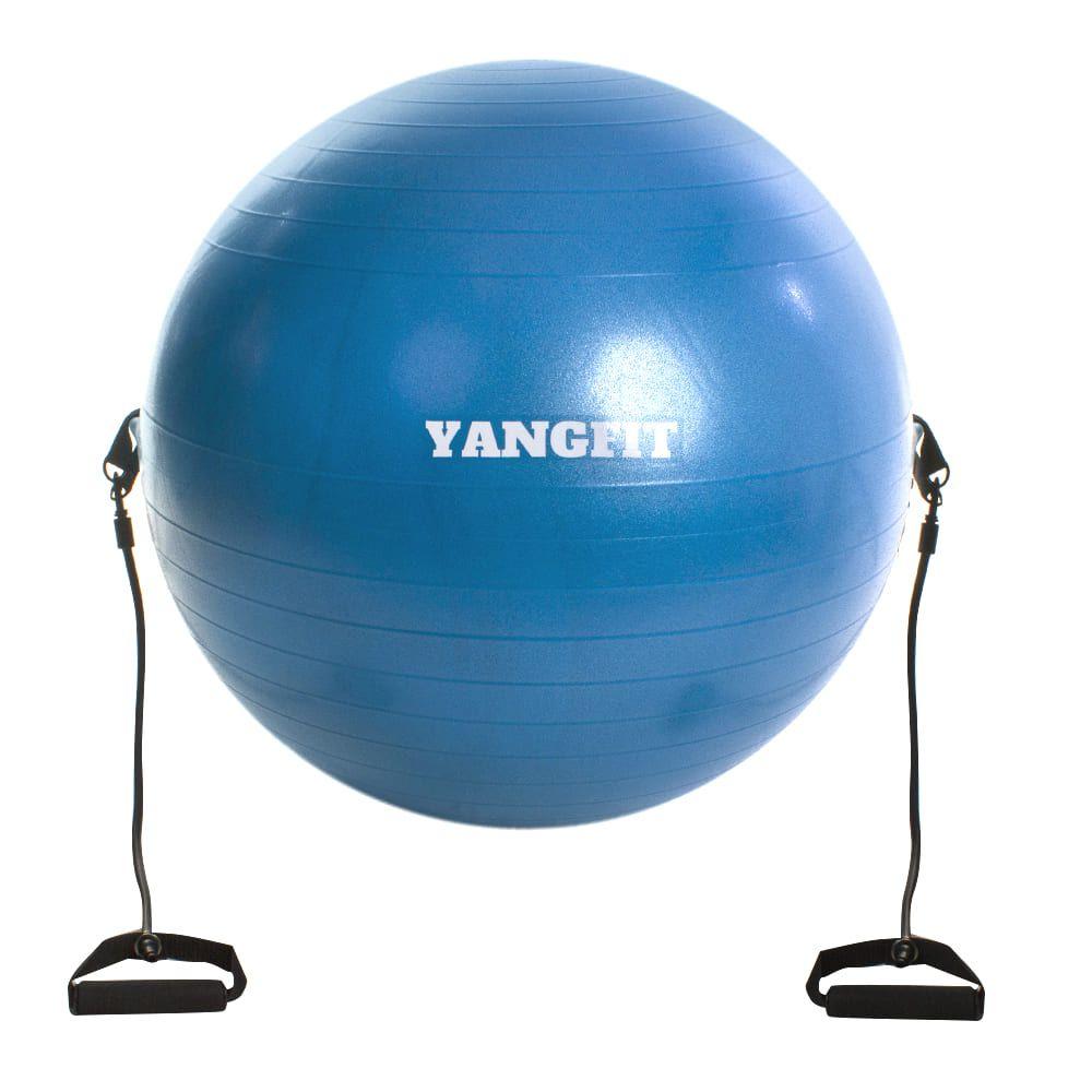 Bola Pilates com Alça Extensora e Bomba de Ar 65cm Yangfit