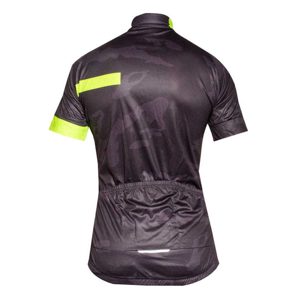 Camisa Ciclismo Camuflada Manga Curta Ziper Bolso