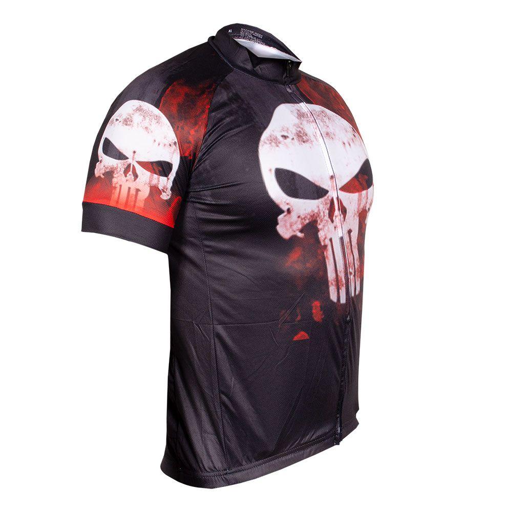 Camisa Ciclismo Caveira Manga Curta Ziper Bolso