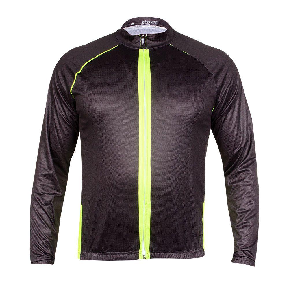 Camisa Ciclismo com Ziper e Bolso Manga Longa