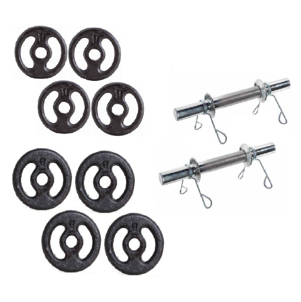 Kit Anilhas de Ferro + Barra 40cm 12kg