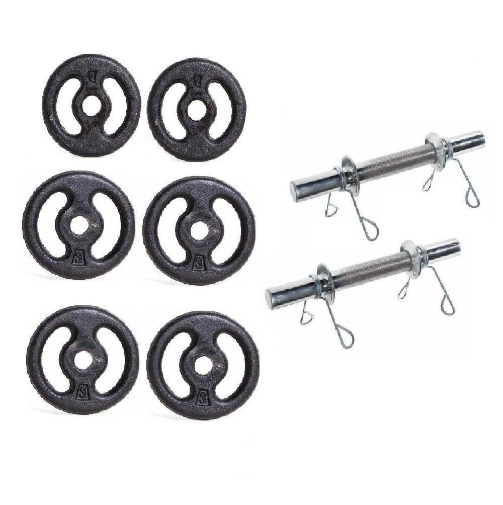 Kit Anilhas de Ferro + Barra 40cm 16kg Yangfit.