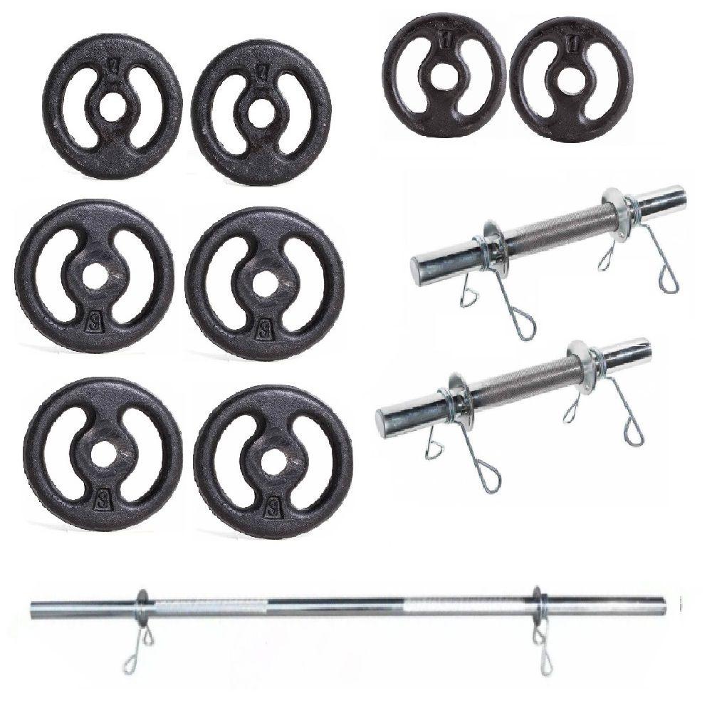 Kit Anilhas de Ferro + Barras Musculação 18kg Yangfit