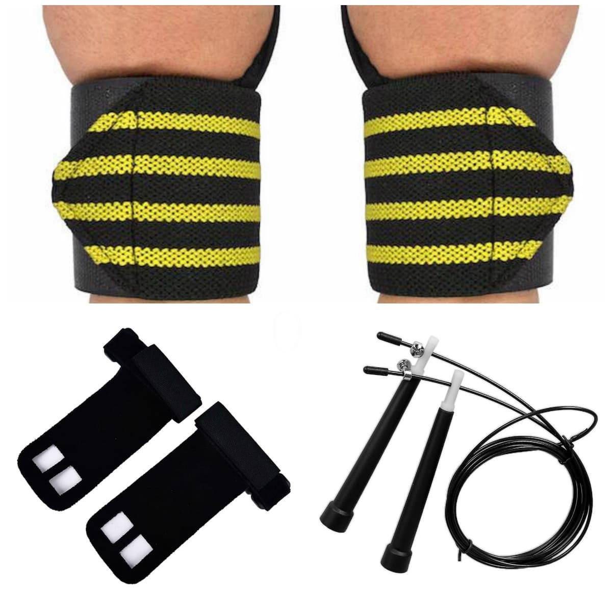 Kit Corda de Pular Com Munhequeira E Luva Hand Grip