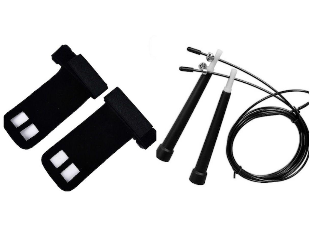 Kit Corda de Pular + Par de Luva Hand Grip Couro