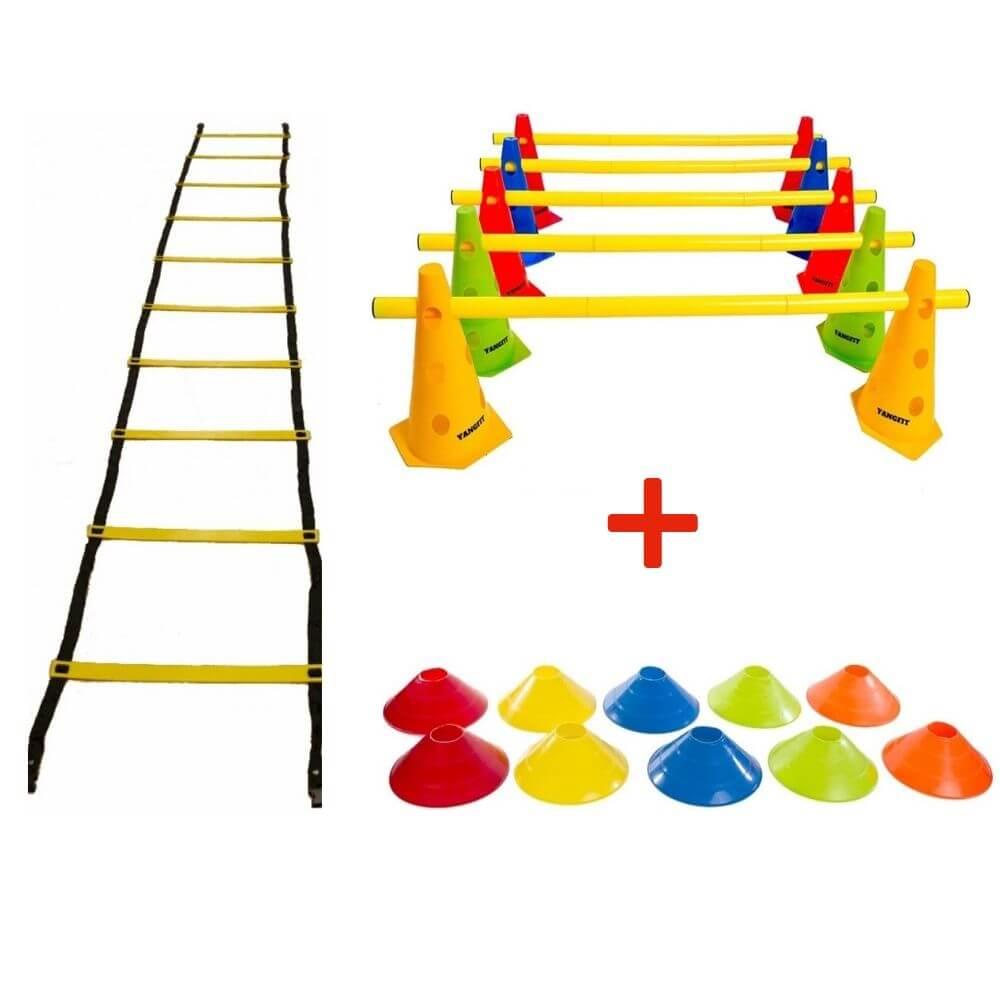 Kit Funcional Escada Agilidade Cones Barreira Chapéu Chinês