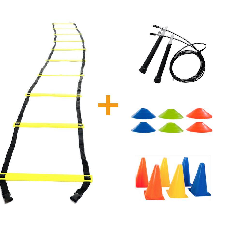 Kit Treino Funcional Escada Agilidade + Cones + Chapéu Chinês + Corda de Pular