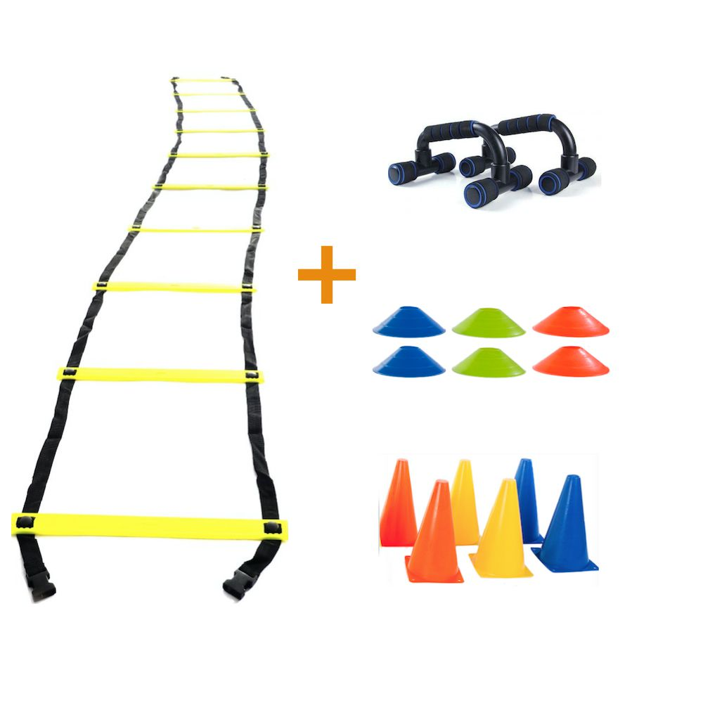 Kit Funcional Escada de Agilidade Cones e Apoio de Flexão
