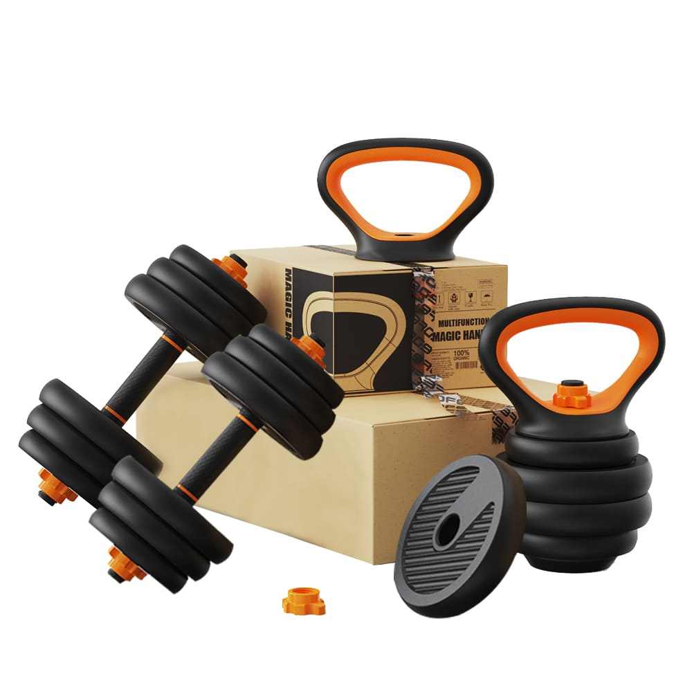 Kit Musculação Completo Barra Anilha Halter Dumbbell Kettlebell - 30kg