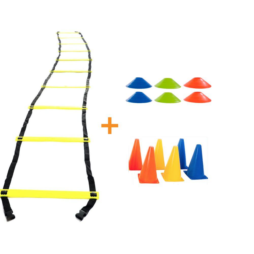 Kit Treino Escada Agilidade 6 Cones 6 Chapéu Half