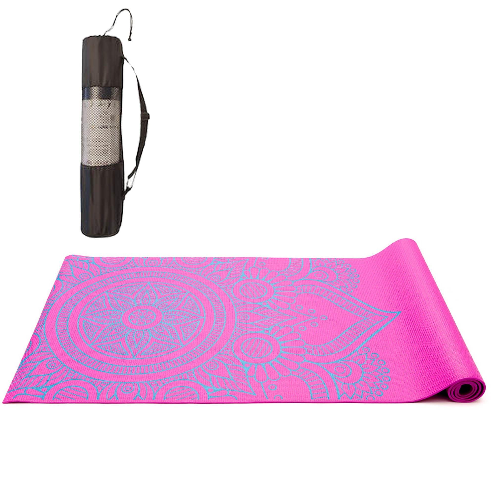 Tapete Yoga Mat Pilates PVC Com Estampa e Bolsa