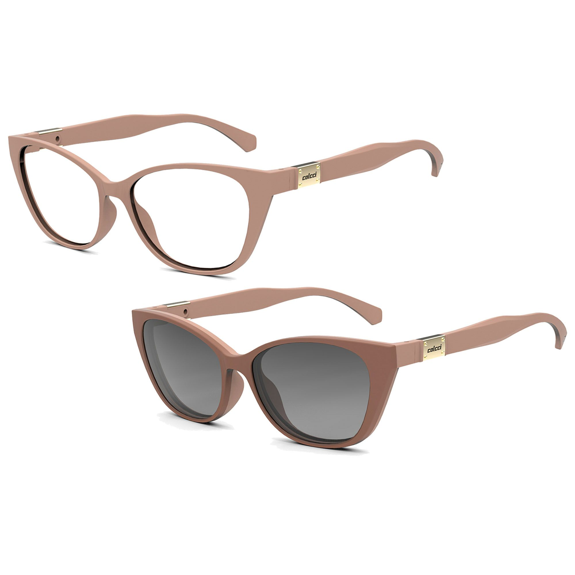 Óculos de Grau Feminino Colcci Bandy I C6122B2852 Clip On Solar Polarizado