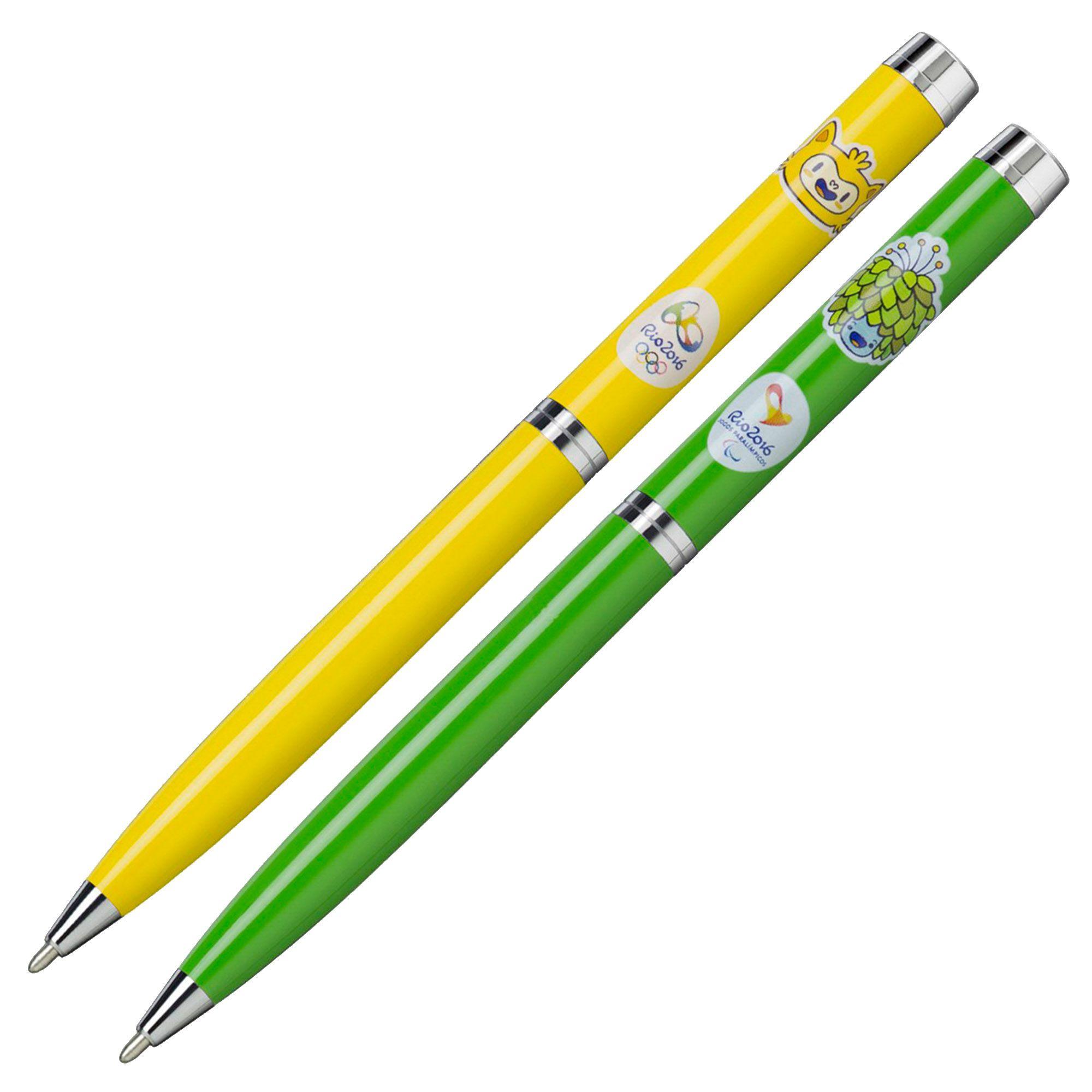Canetas Oficiais Jogos Rio2016 KY20164G Kit com 2 peças Amarela e Verde