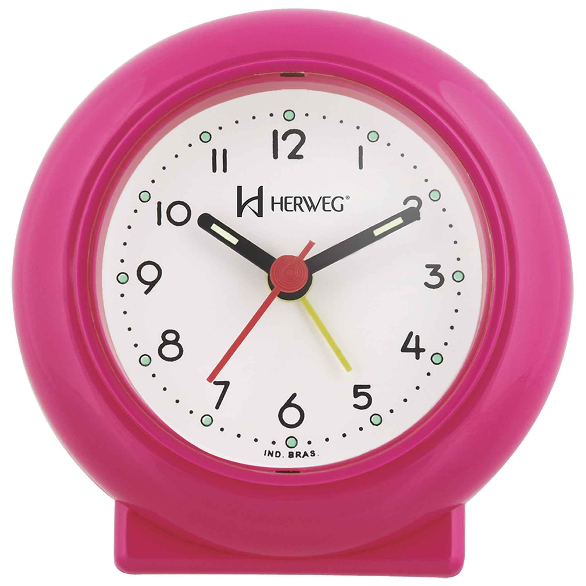 Despertador Analógico Quartzo Herweg 2611 188 Rosa Papoula