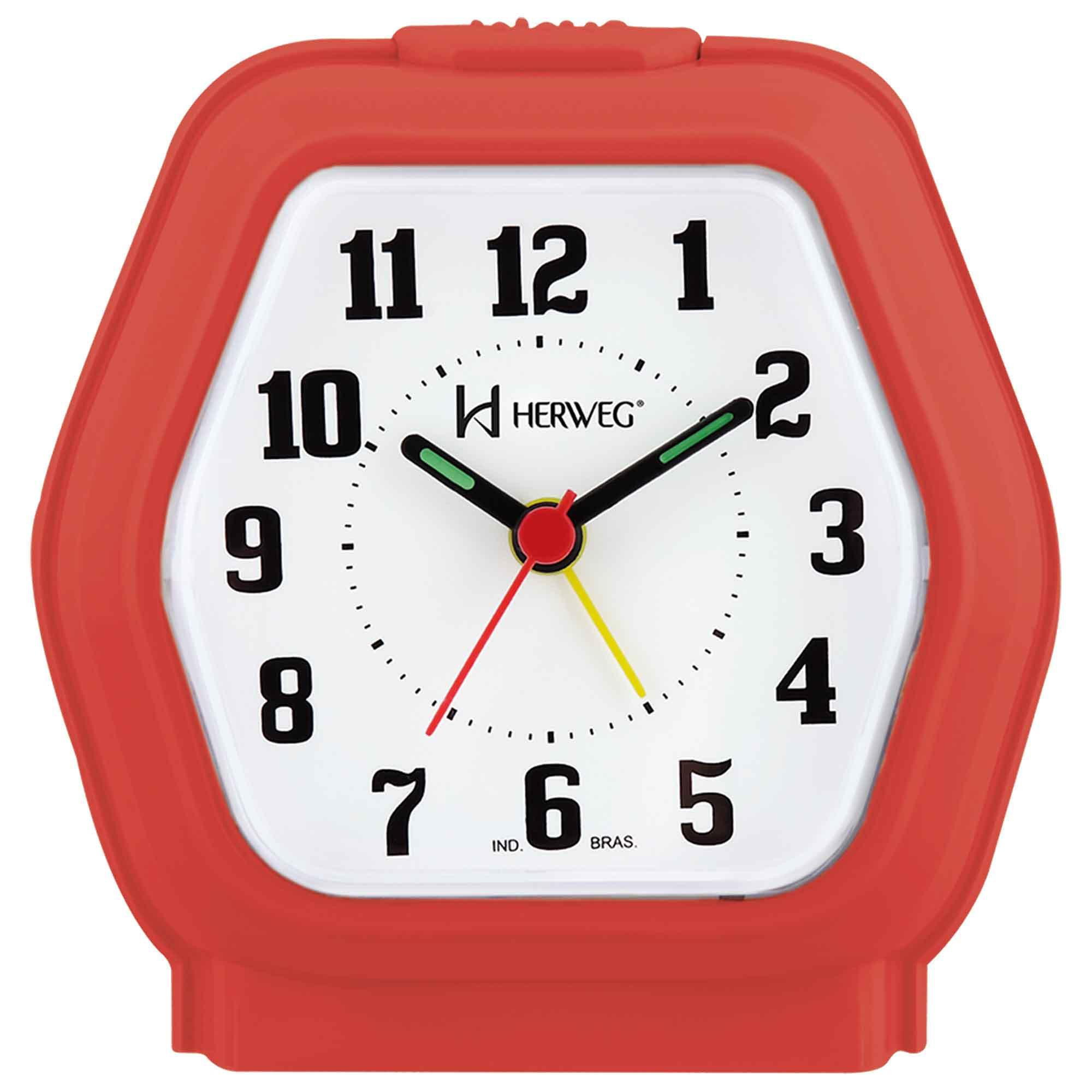 Despertador Analógico Quartzo Herweg 2635 269 Vermelho Pantone