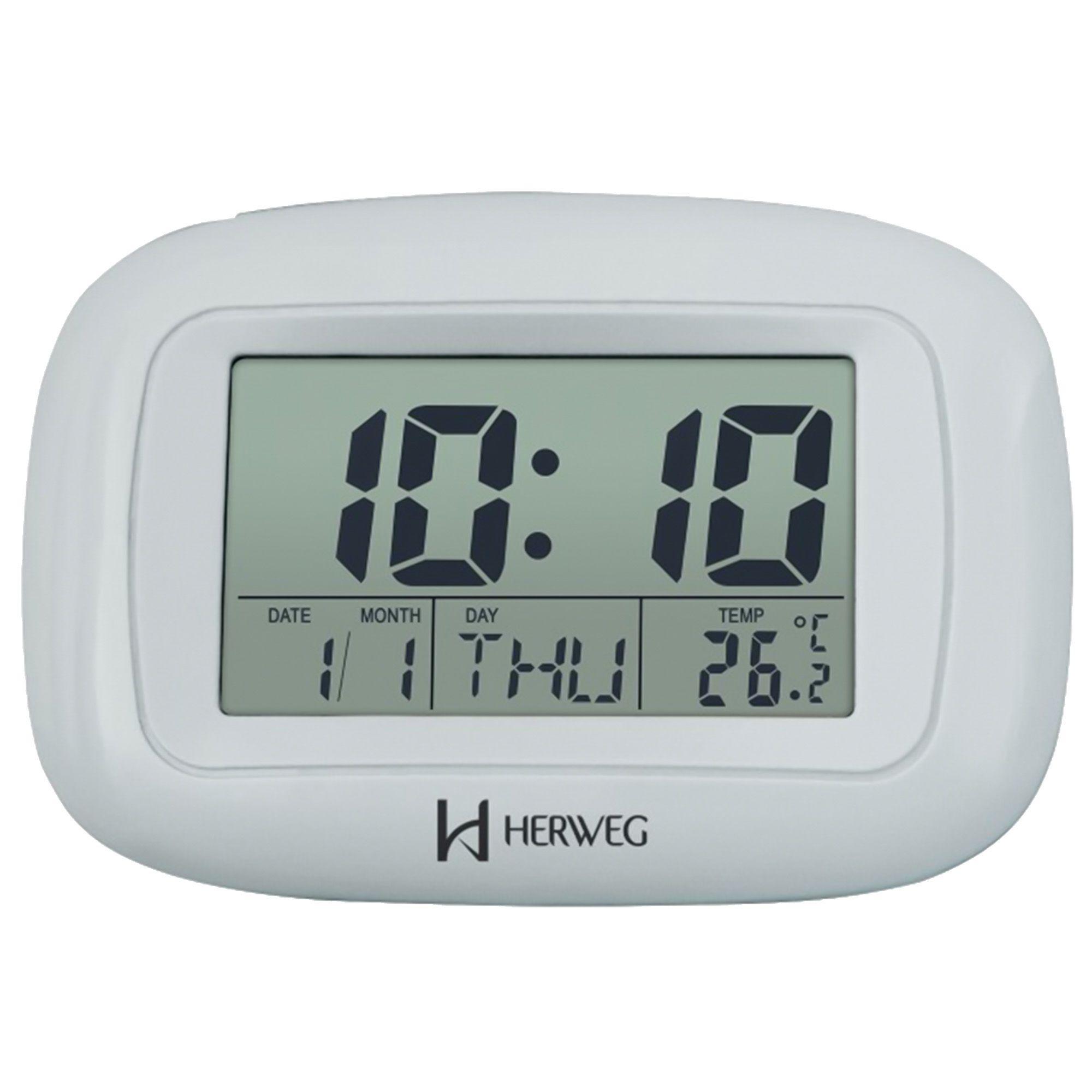 Despertador Digital Quartzo Herweg 2967 070 Prata Metálico