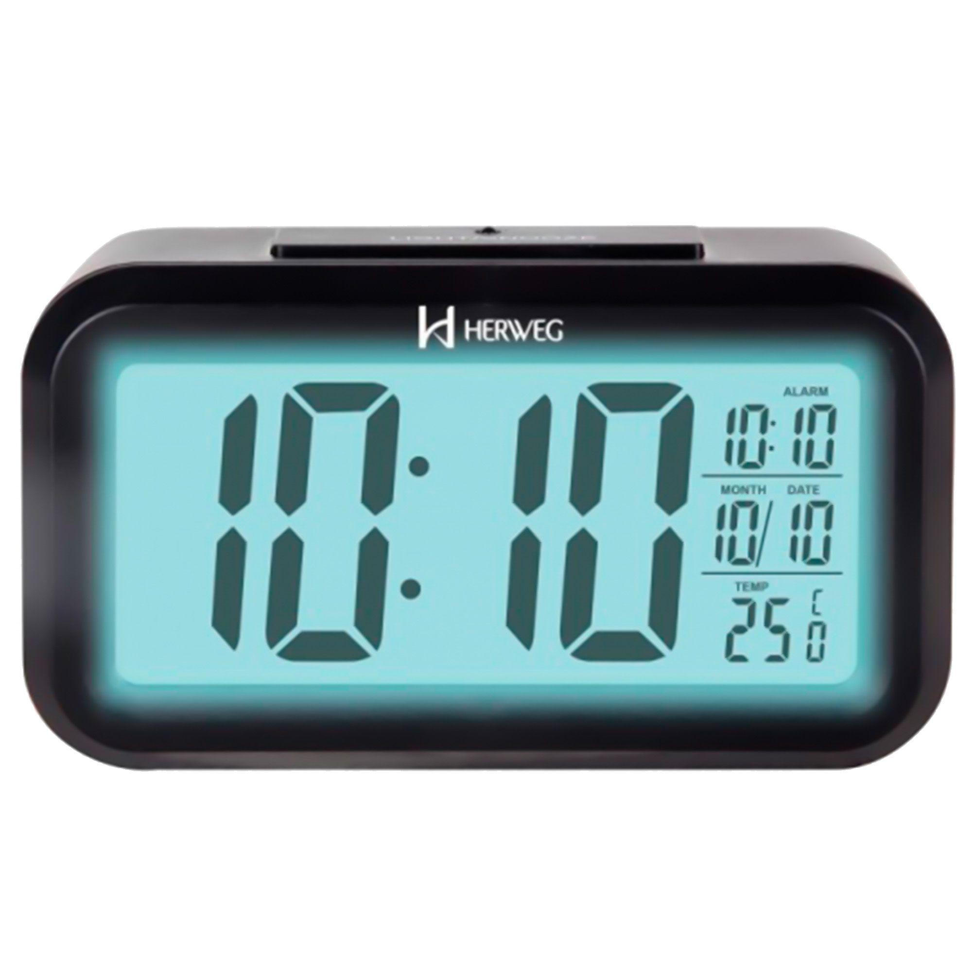 Despertador Digital Quartzo Herweg 2971 034 Preto