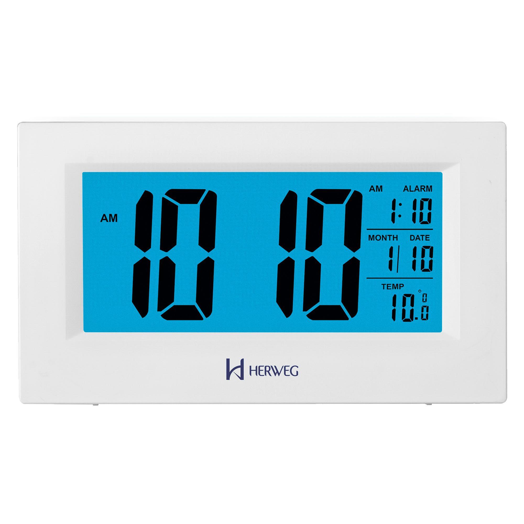 Despertador Digital Quartzo Herweg 2972 021 Branco