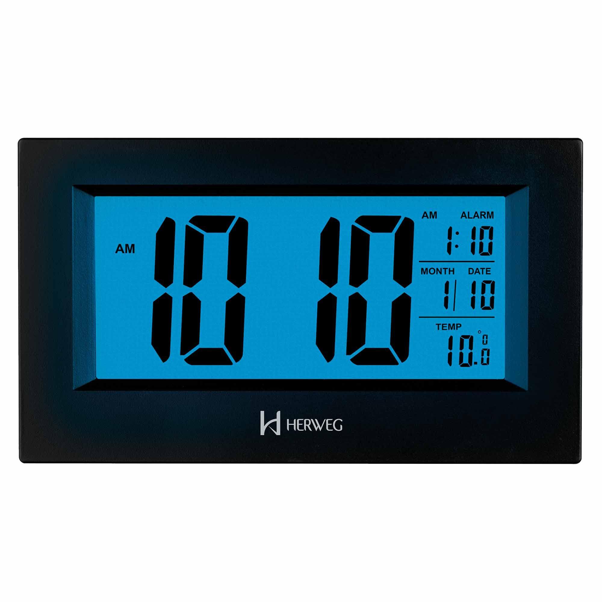 Despertador Digital Quartzo Herweg 2972 034 Preto
