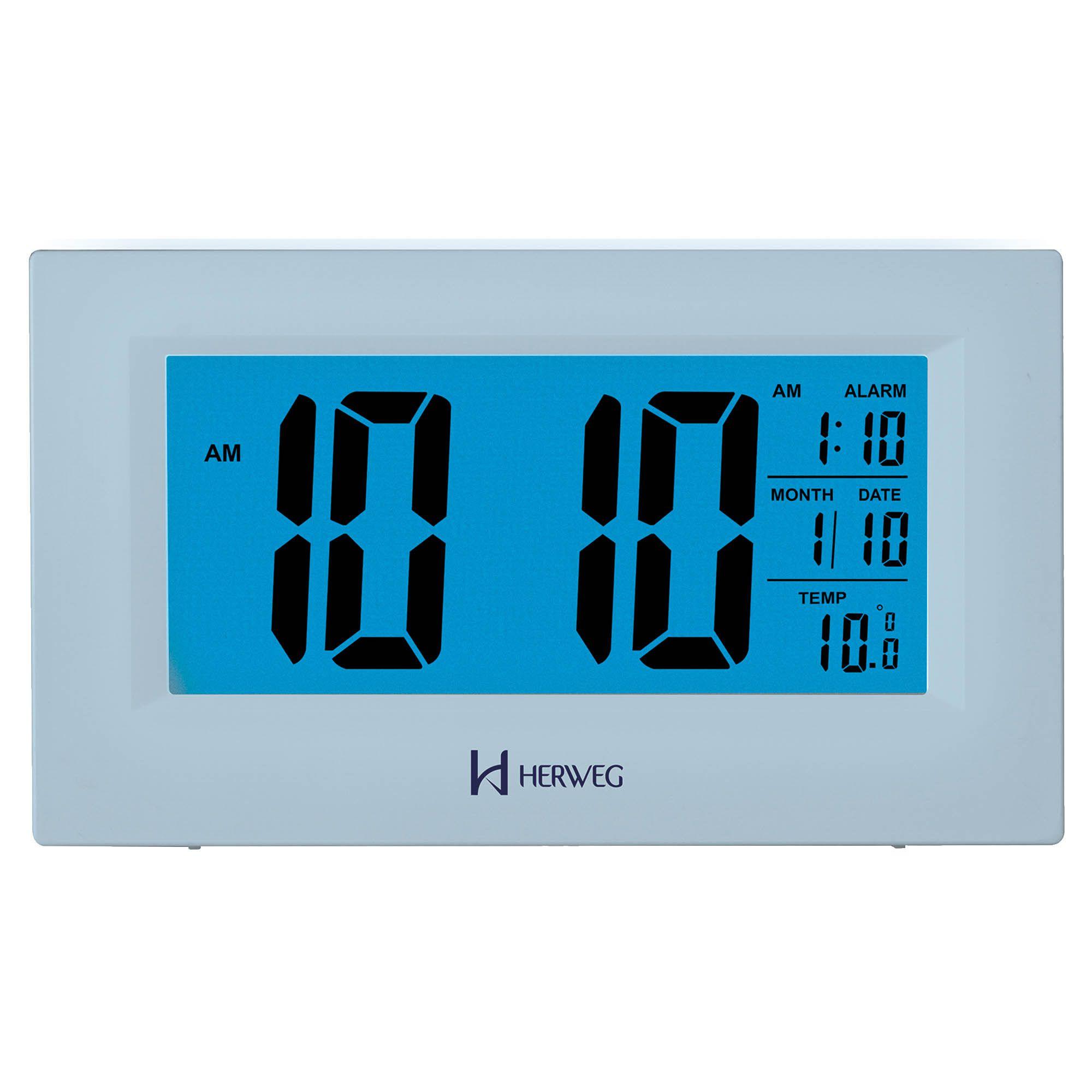 Despertador Digital Quartzo Herweg 2972 070 Prata Metálico