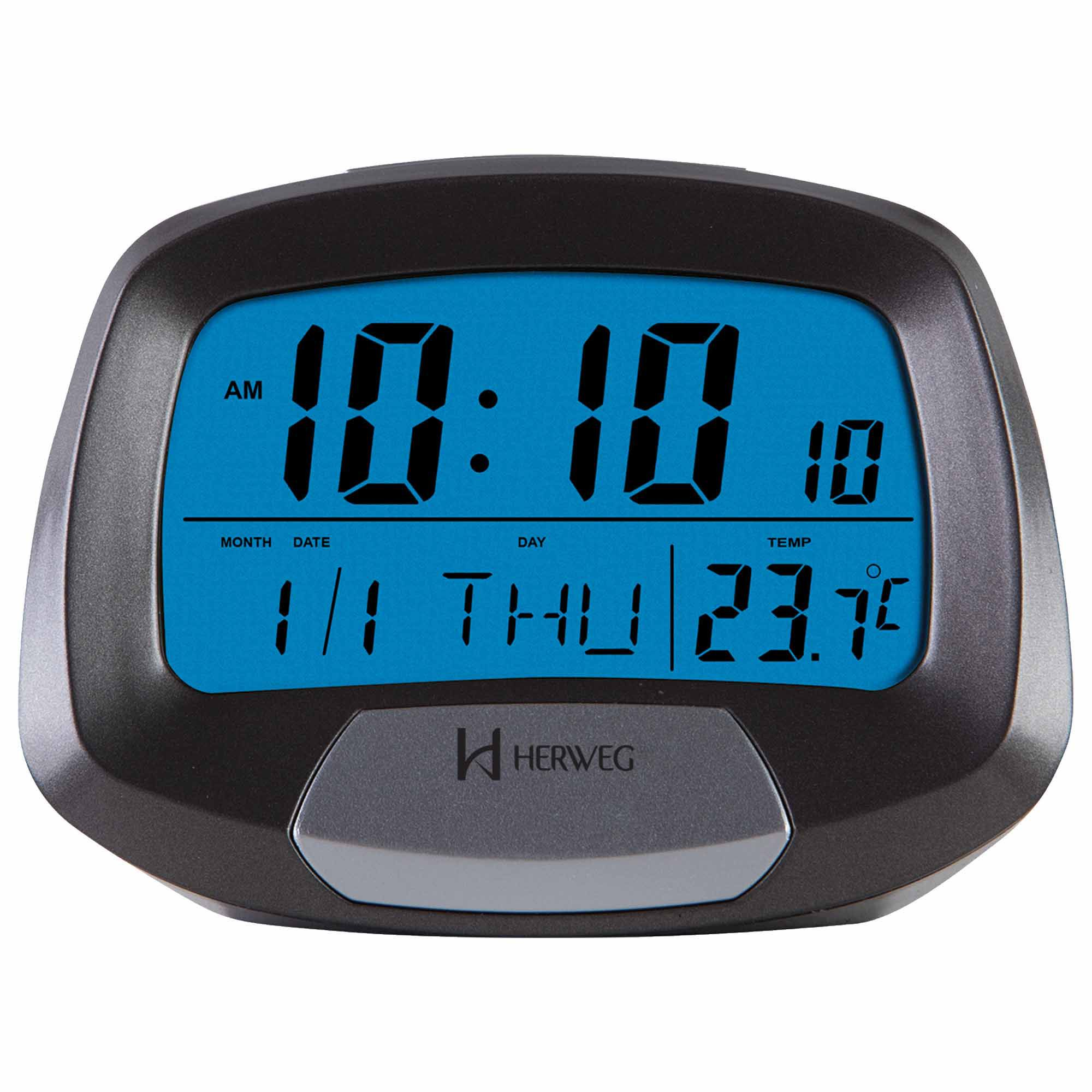 Despertador Digital Quartzo Herweg 2977 071 Cinza Metálico