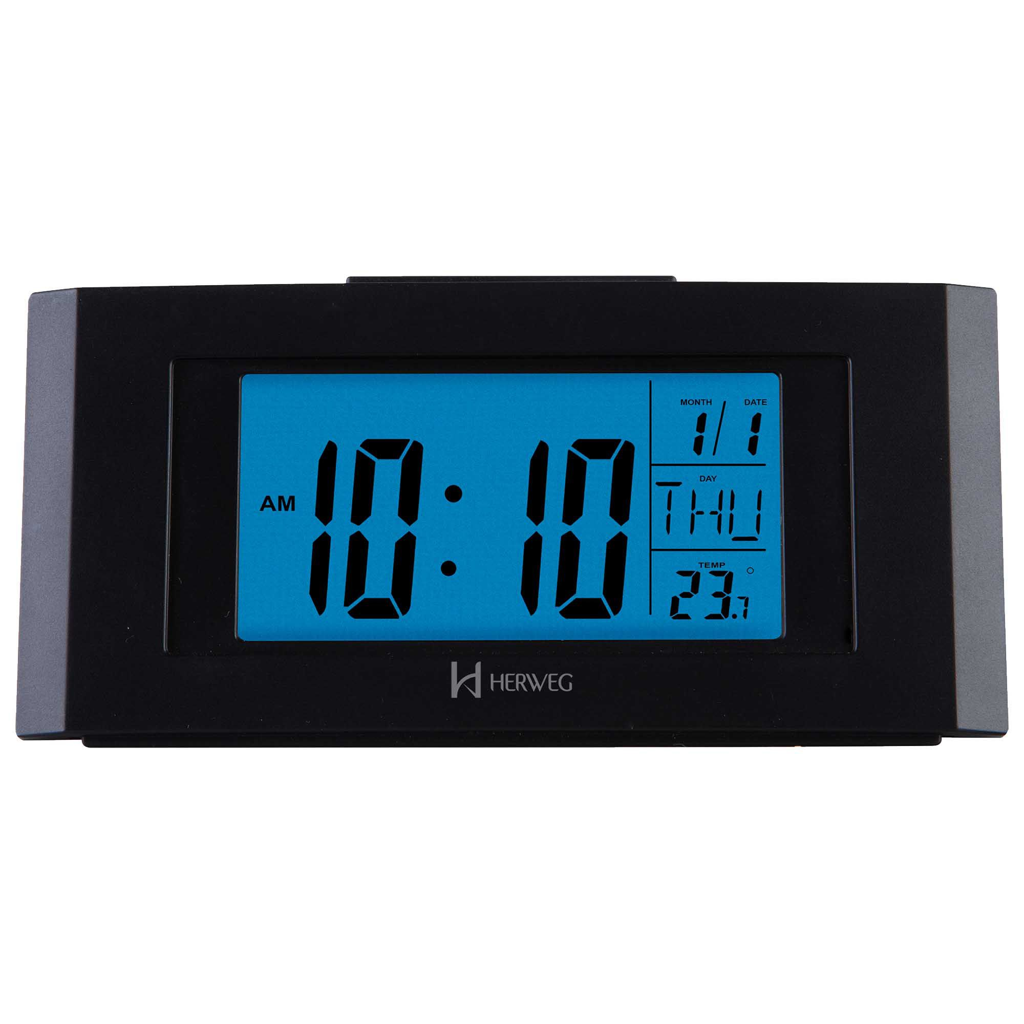Despertador Digital Quartzo Herweg 2978 034 Preto