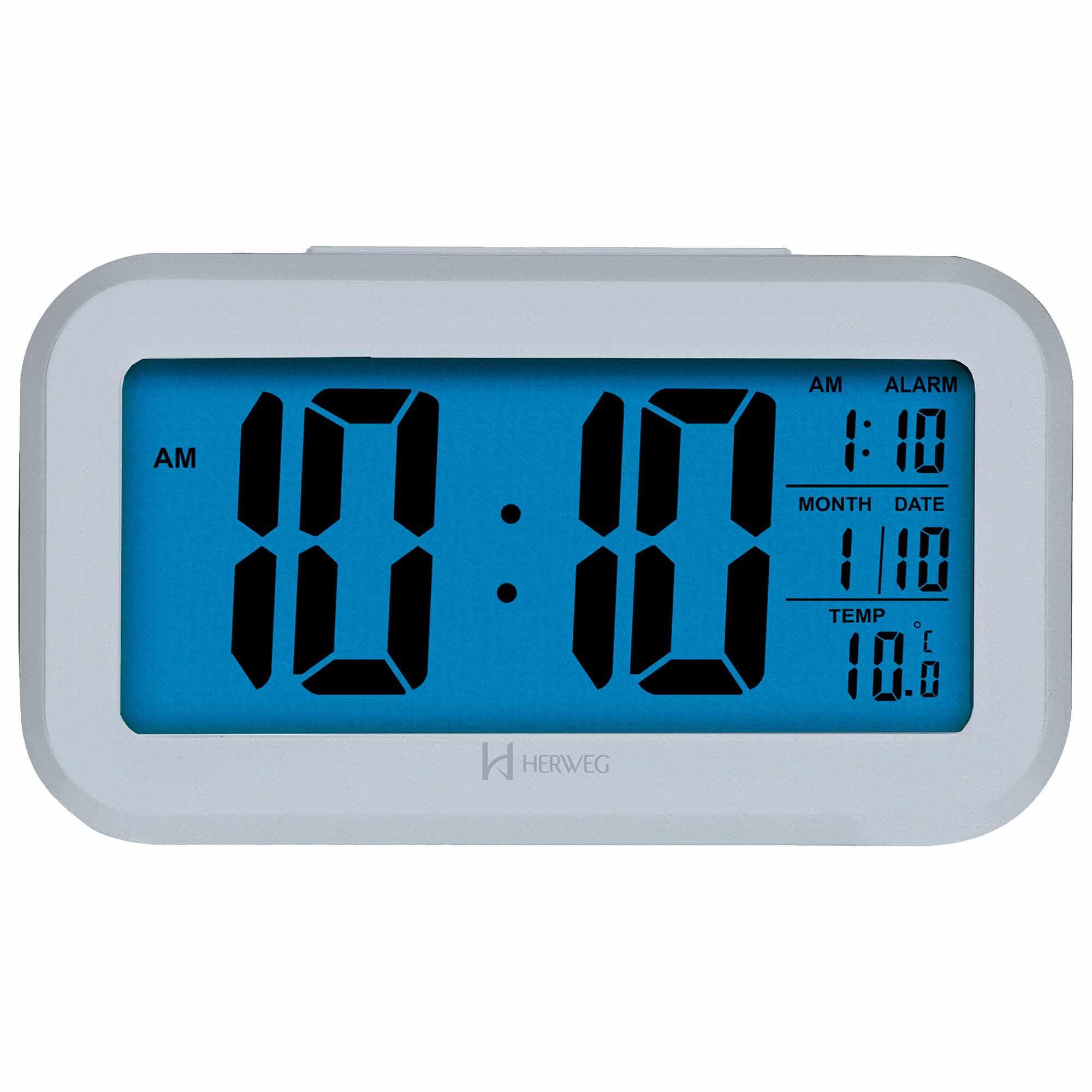 Despertador Digital Quartzo Herweg 2980 070 Prata Metálico