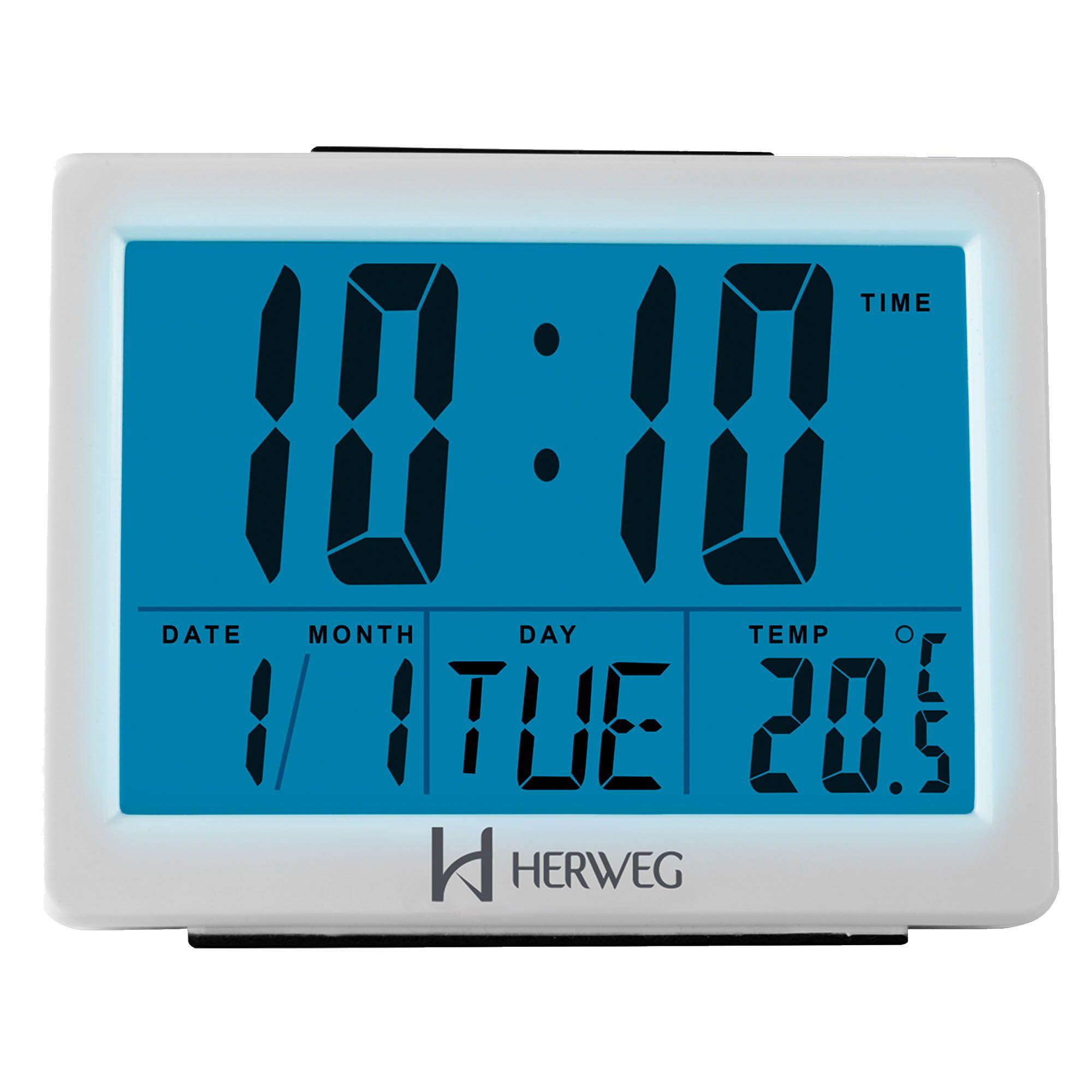 Despertador Digital Quartzo Herweg 2982 021 Branco