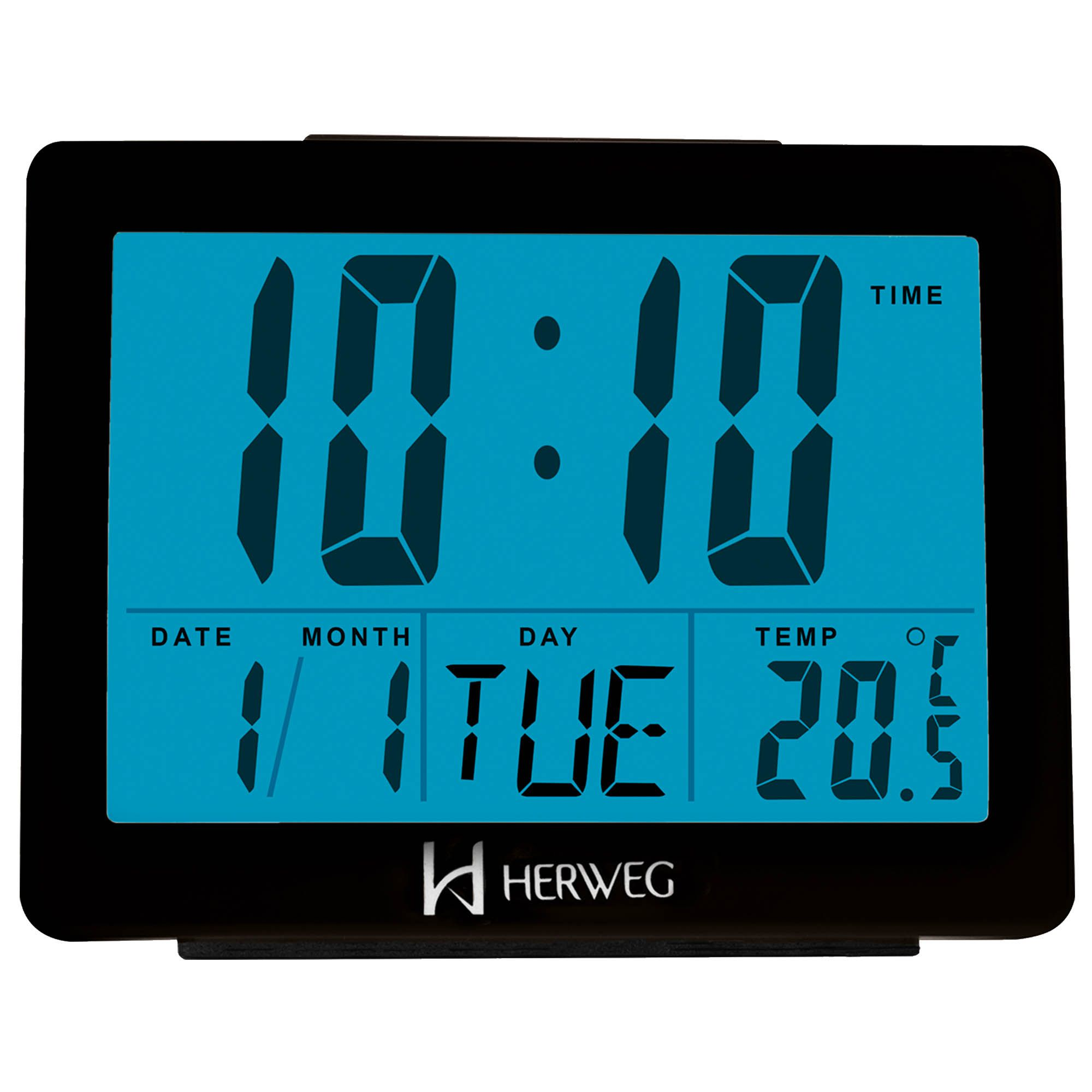 Despertador Digital Quartzo Herweg 2982 034 Preto