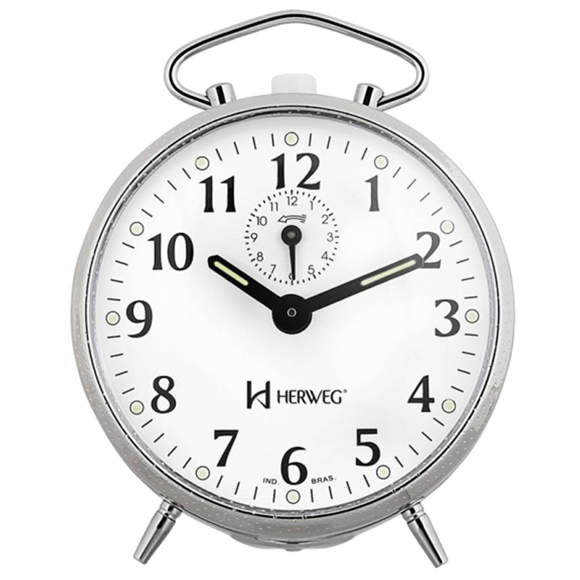 Despertador Analógico Mecânico Herweg 2210 207 Cromado Picotiado