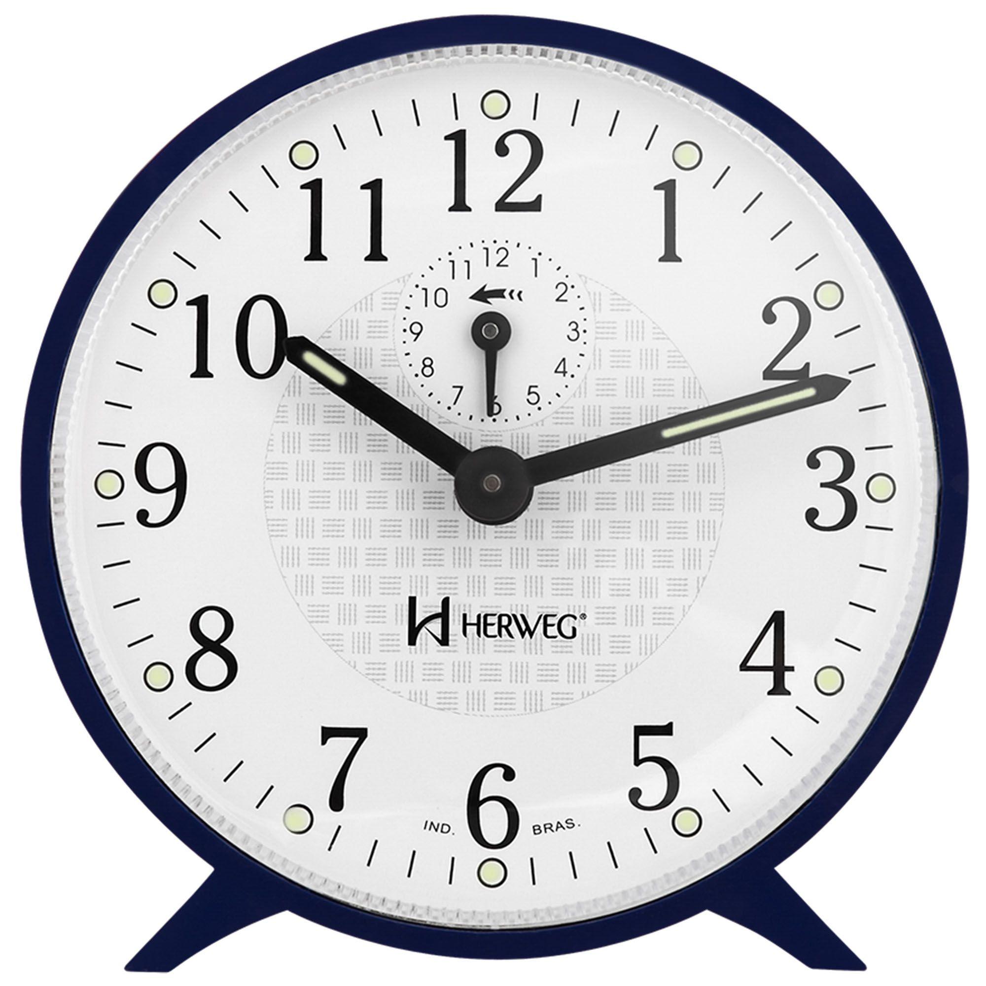 Despertador Analógico Mecânico Herweg 2220 011 Azul