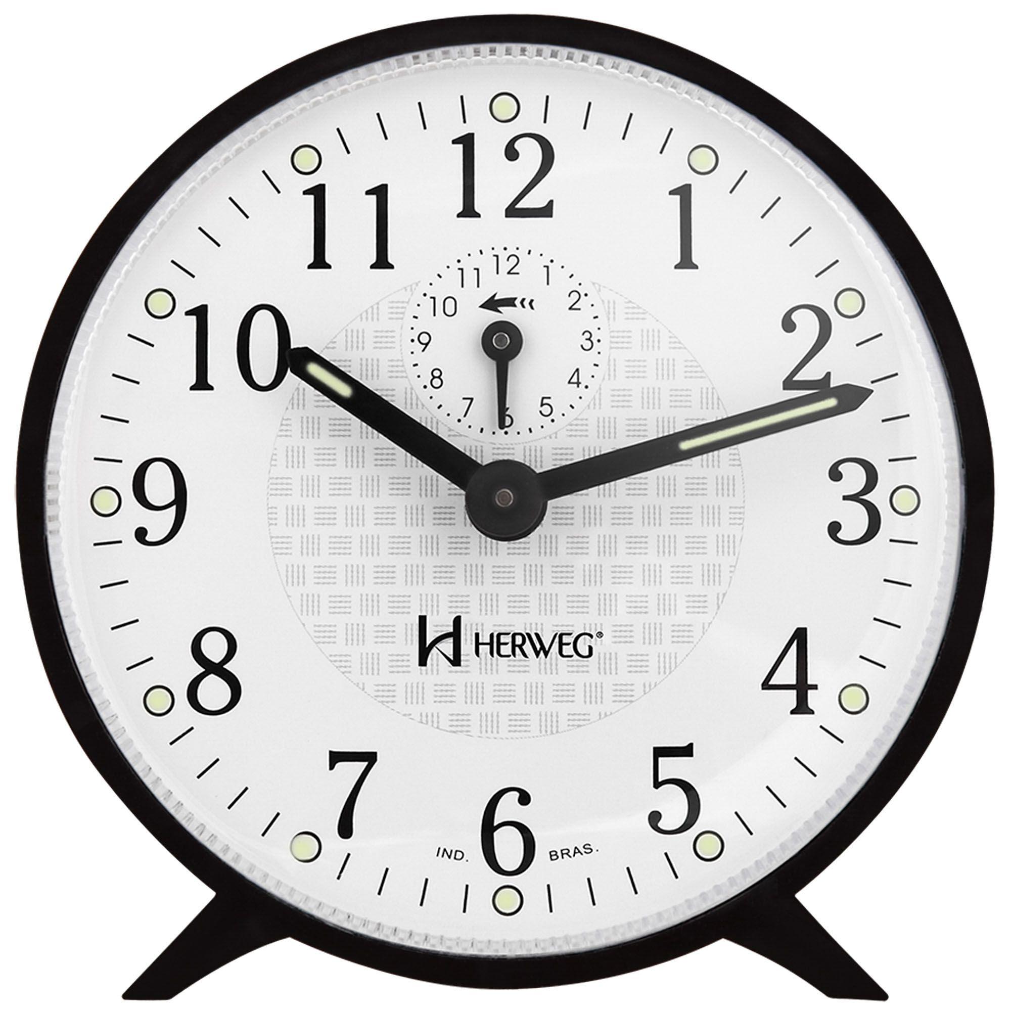 Despertador Analógico Mecânico Herweg 2220 034 Preto