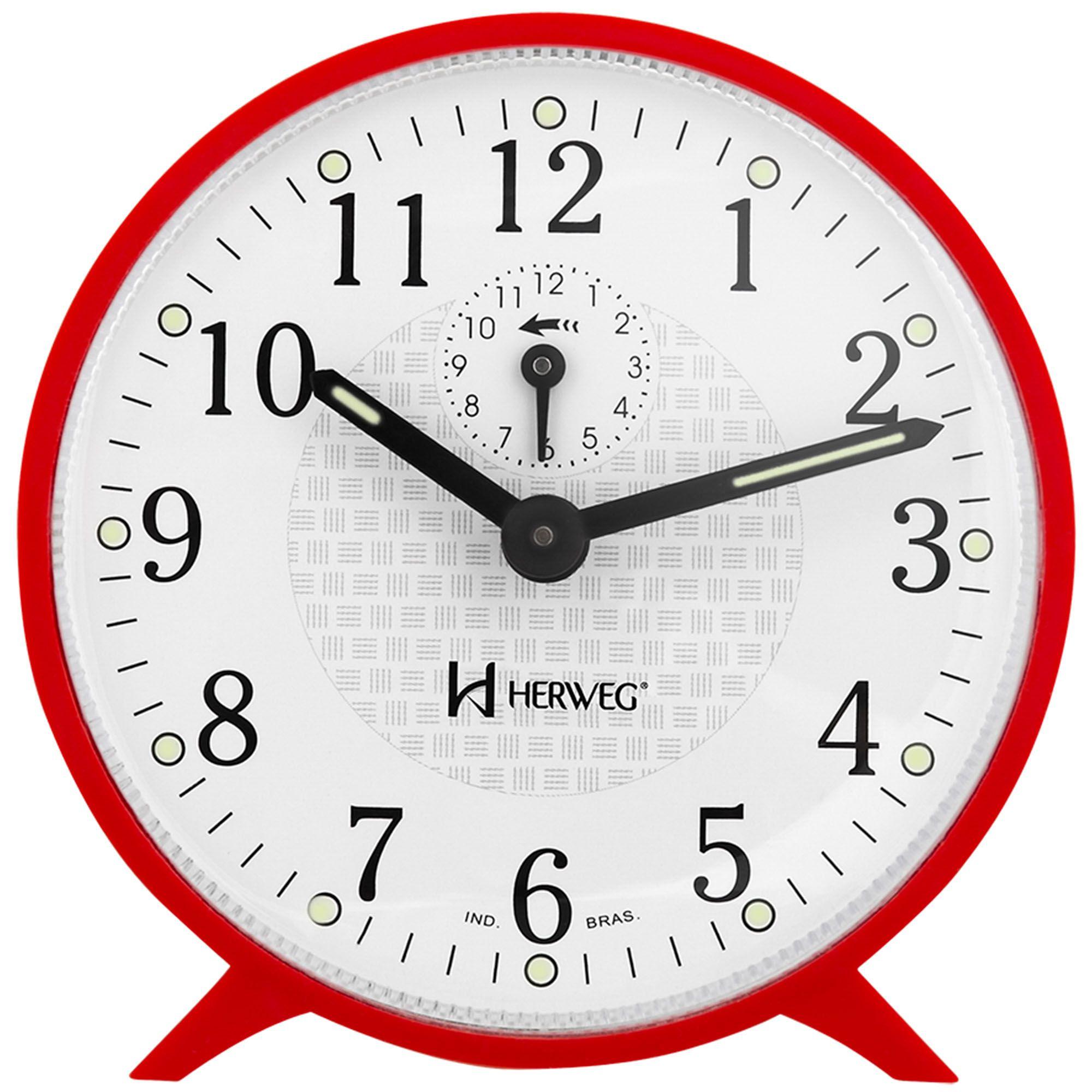 Despertador Analógico Mecânico Herweg 2220 044 Vermelho
