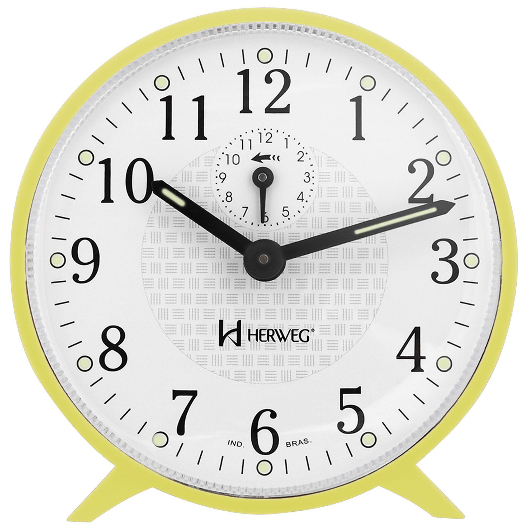 Despertador Analógico Mecânico Herweg 2220 260 Amarelo Claro