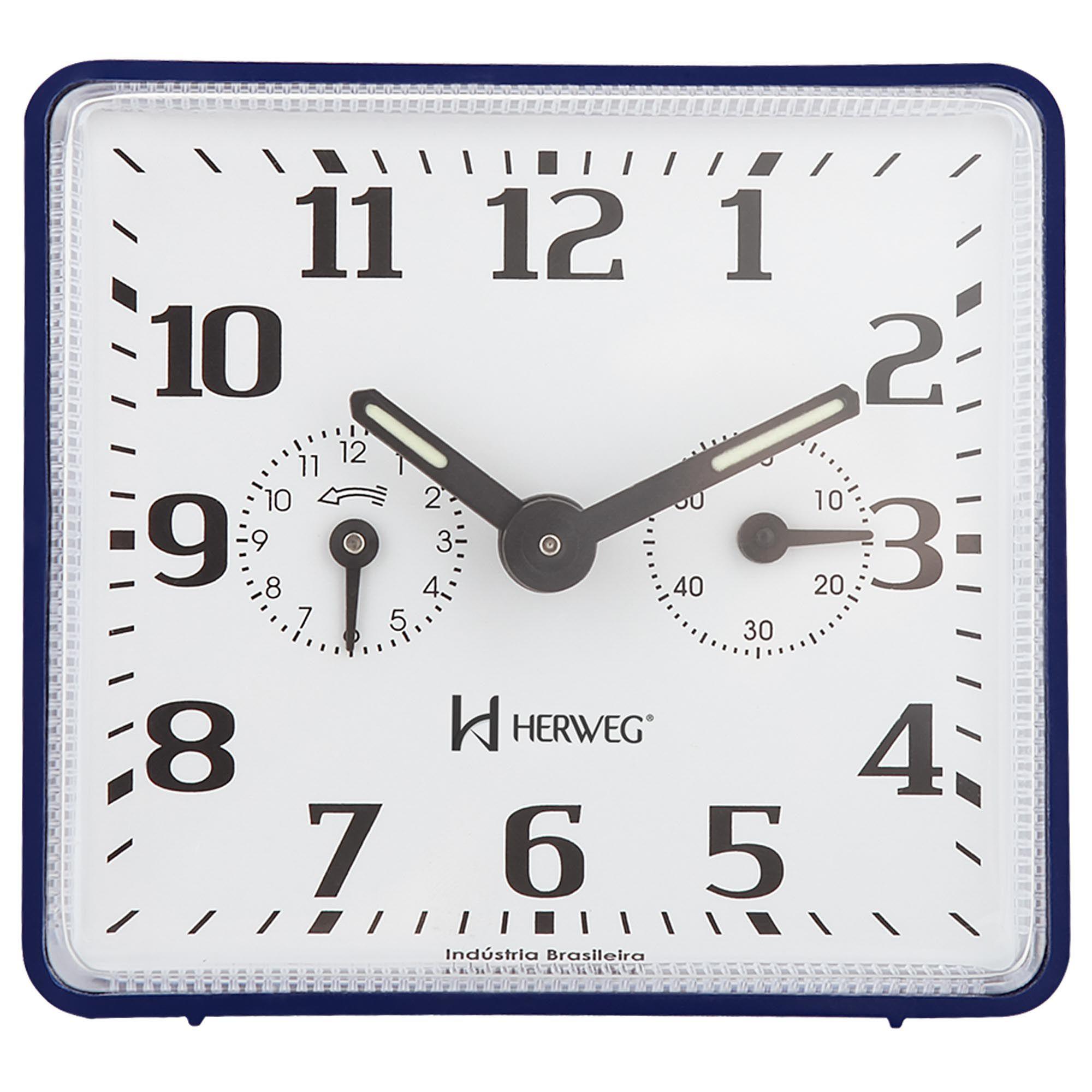 Despertador Analógico Mecânico Herweg 2245 011 Azul
