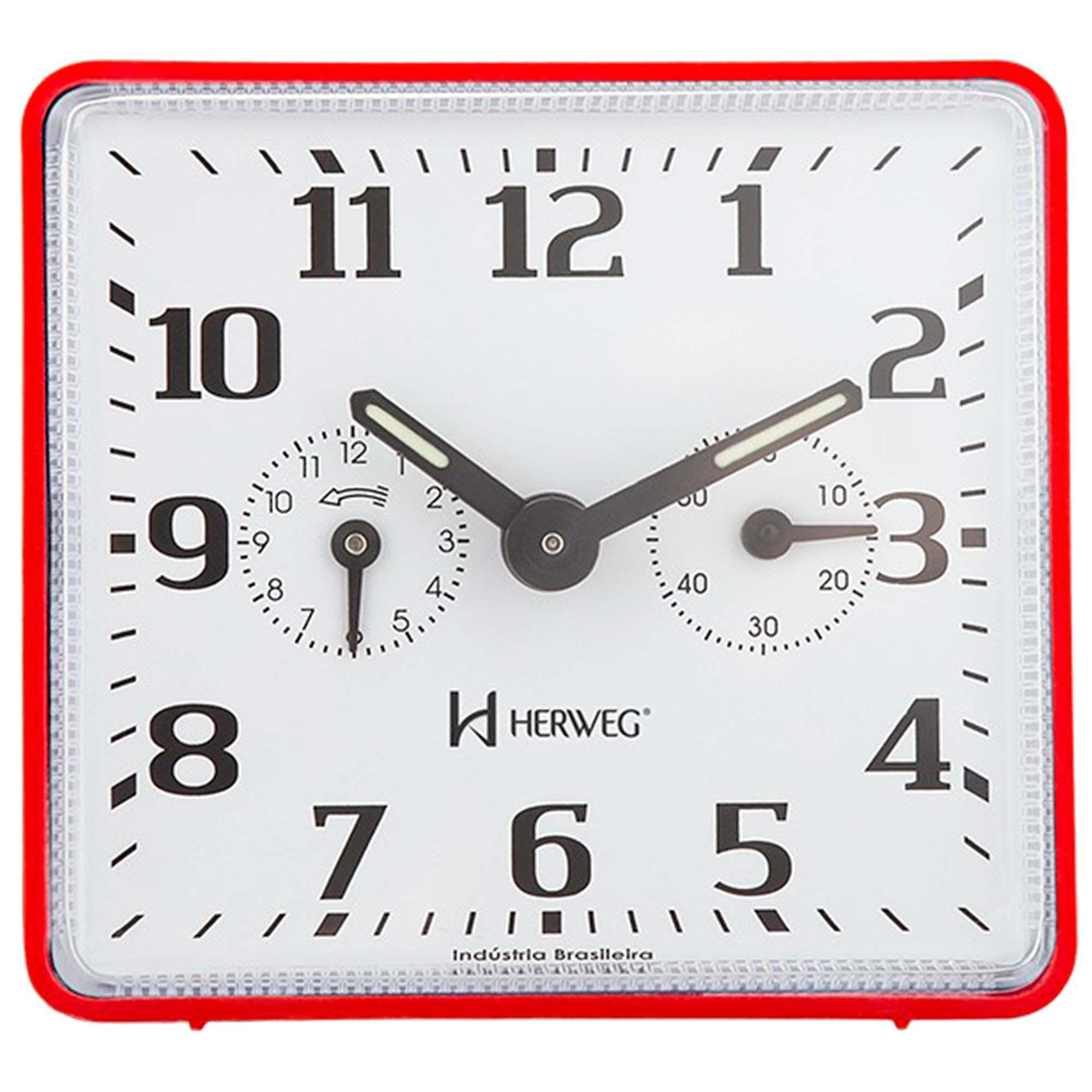 Despertador Analógico Mecânico Herweg 2245 044 Vermelho