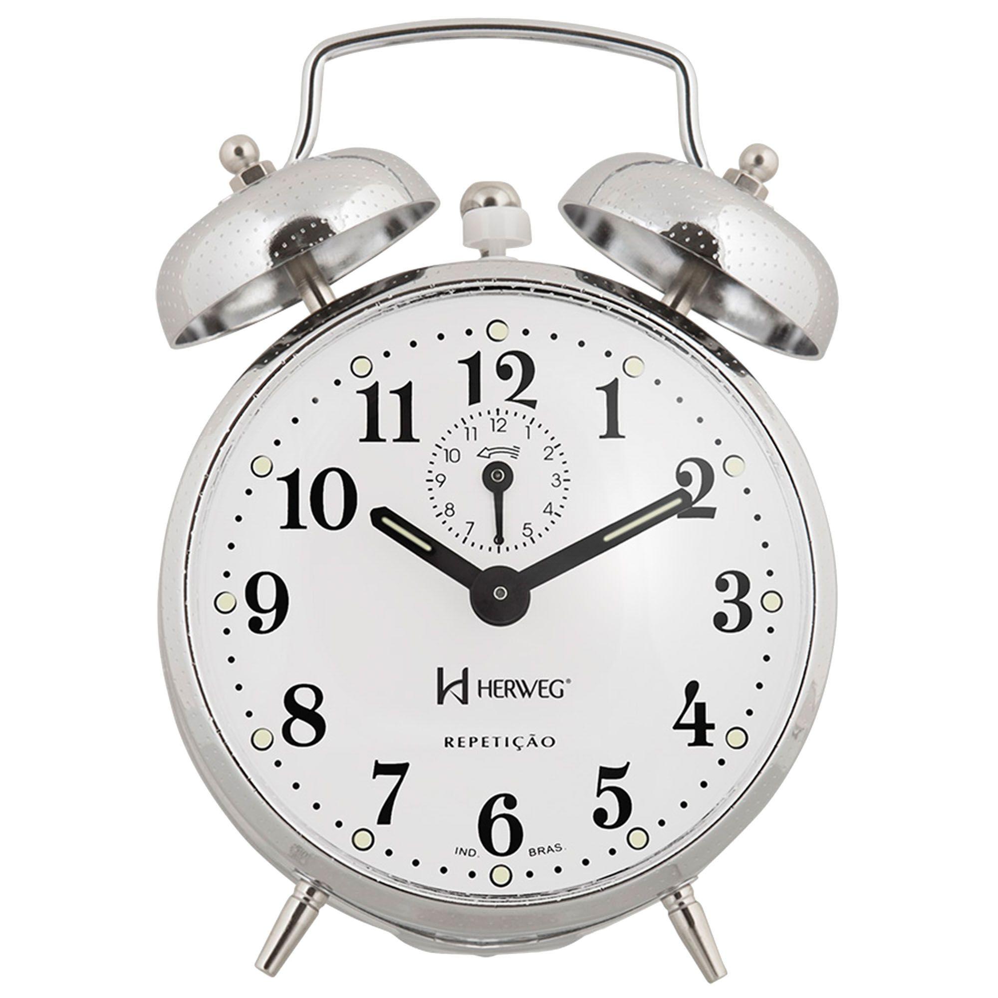 Despertador Analógico Mecânico Herweg 2370 207 Cromado Picotiado