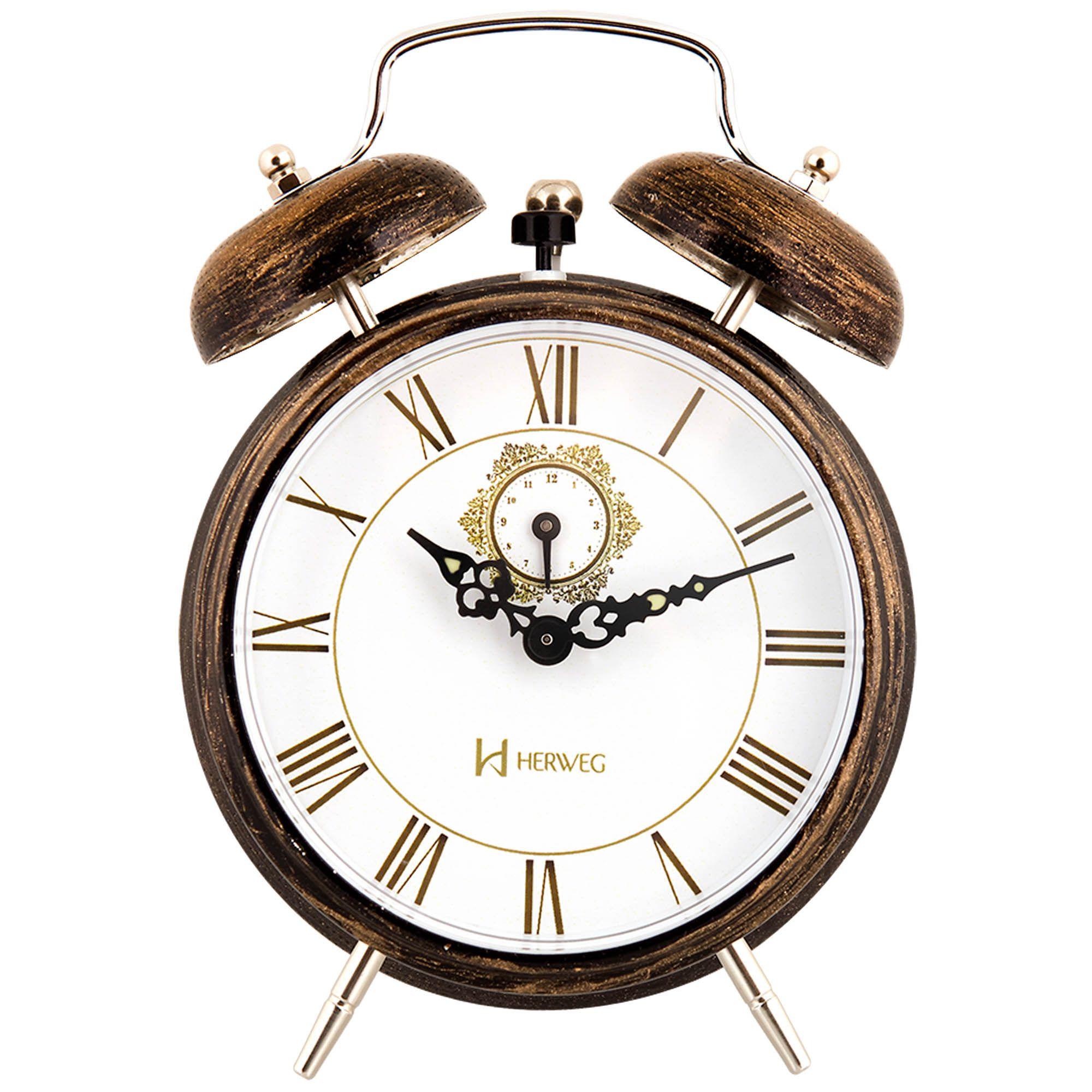 Despertador Analógico Mecânico Herweg 2381 271 Ouro Claro Envelhecido