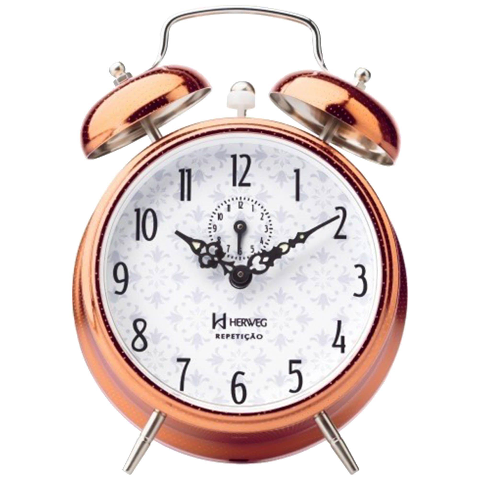 Despertador Analógico Mecânico Herweg 2384 320 Cobre