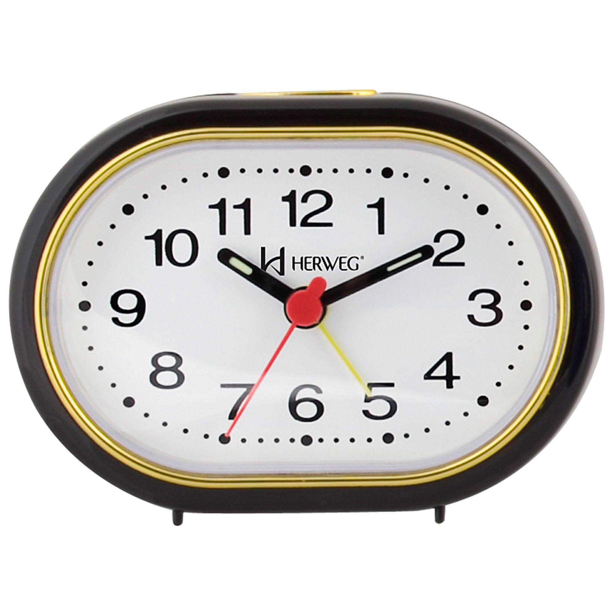 Despertador Analógico Quartzo Herweg 2592 034 Preto