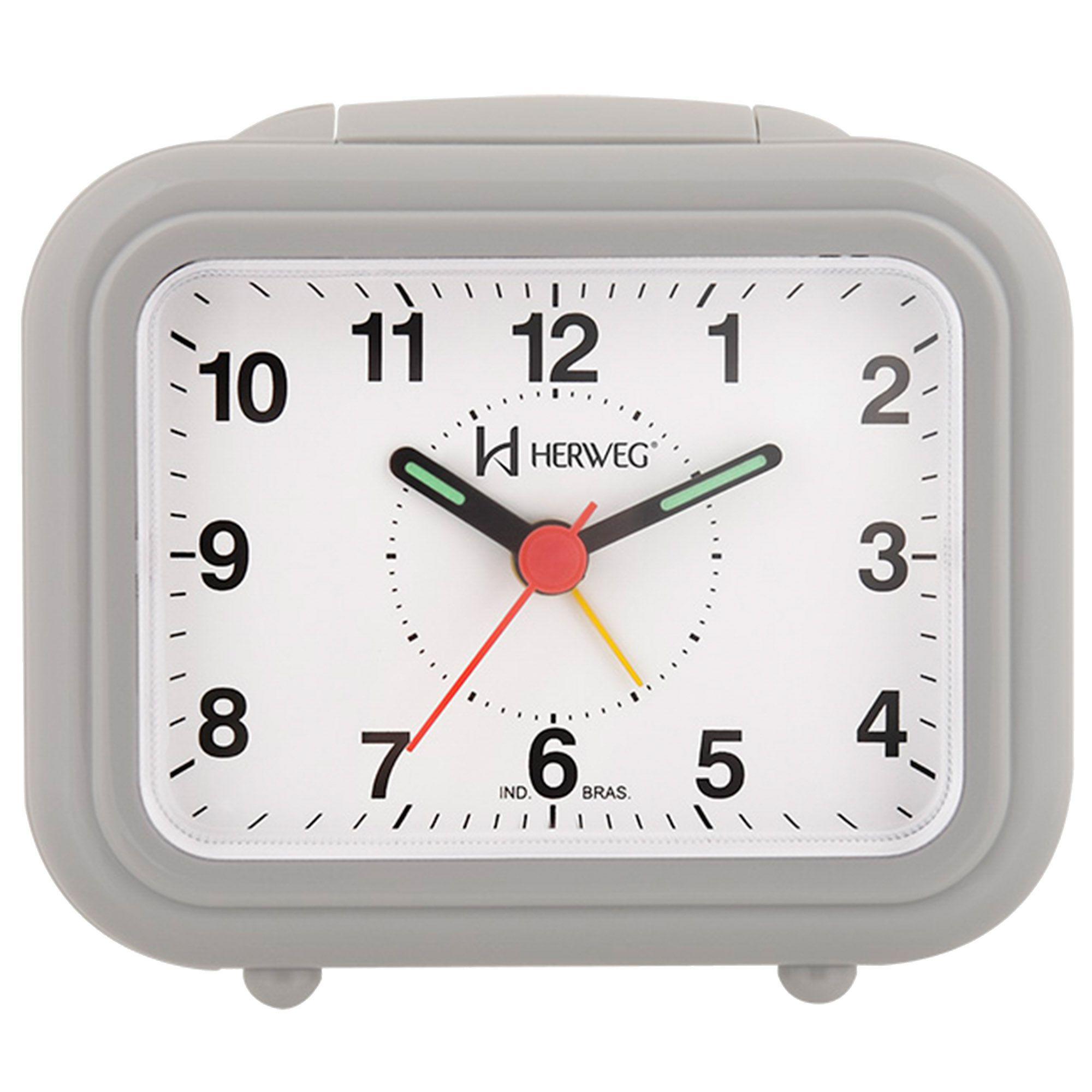 Despertador Analógico Quartzo Herweg 2630 024 Cinza